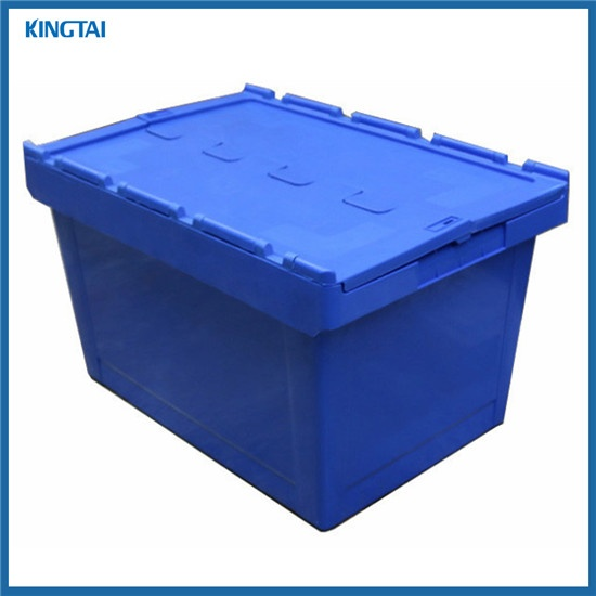 600*400*340mm Plastic Moving Crate with Attached Lid